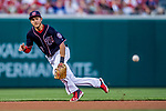 28 April 2017: Washington Nationals infielder Trea Turner in action against the New York Mets at Nationals Park in Washington, DC. The Mets defeated the Nationals 7-5 to take the first game of their 3-game weekend series. Mandatory Credit: Ed Wolfstein Photo *** RAW (NEF) Image File Available ***