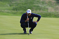 Sergio Garcia (Team Europe) on the 5th green during the Friday Foursomes at the Ryder Cup, Le Golf National, Ile-de-France, France. 28/09/2018.<br /> Picture Thos Caffrey / Golffile.ie<br /> <br /> All photo usage must carry mandatory copyright credit (© Golffile | Thos Caffrey)