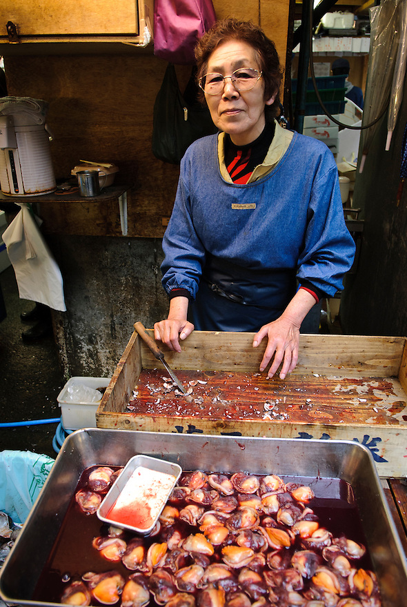 Portraits of people who work at Tsukiji fish market, Tokyo, Japan, January 9, 2007. The Tokyo Metropolitan Central Wholesale Market, better known as Tsukiji market, is the largest fish market in the world. Tsukiji is both a popular tourist attraction and a Mecca of Japanese food culture.