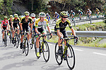 The peloton led by Mitchelton-Scott during Stage 20 of the La Vuelta 2018, running 97.3km from Andorra Escaldes-Engordany to Coll de la Gallina, Spain. 15th September 2018.                   <br /> Picture: Unipublic/Photogomezsport | Cyclefile<br /> <br /> <br /> All photos usage must carry mandatory copyright credit (© Cyclefile | Unipublic/Photogomezsport)