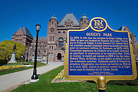 A French language board recalls the history of Queen's Park, where the Legislative Assembly of Ontario is located, in Toronto April 19, 2010.