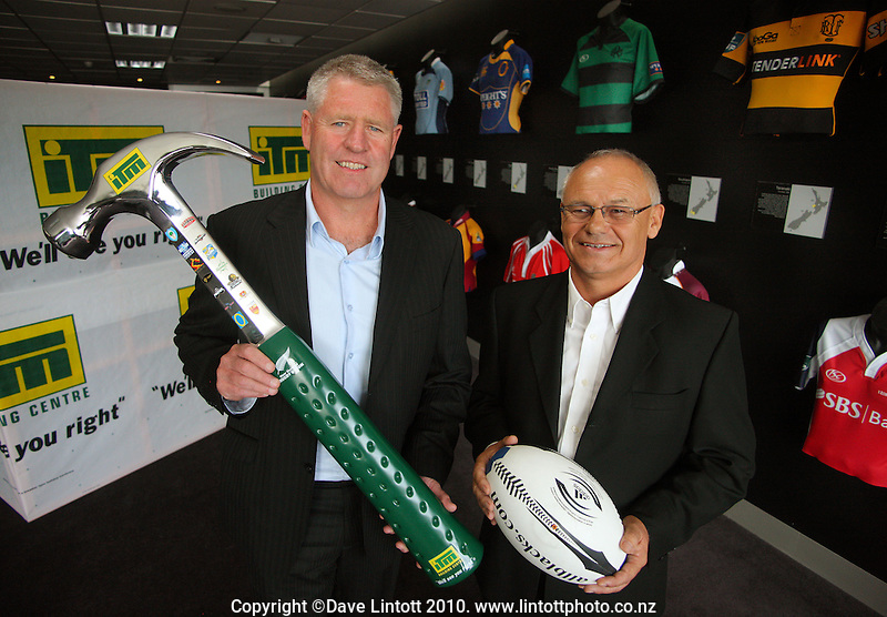 NZRU CEO Steve Tew and ITM CEO Gordon Buswell. NZRU announces ITM as 2010 provincial rugby sponsor at NZRU Head Office, Wellington, New Zealand on Monday, 15 March 2010. Photo: Dave Lintott / lintottphoto.co.nz