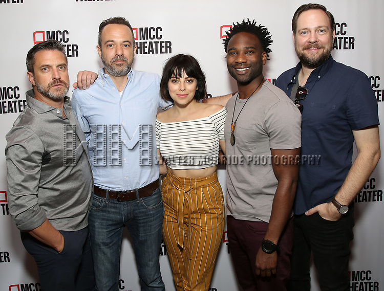 """Raúl Esparza, David Mason, Krysta Rodriguez, W. Tré Davis and Moritz von Stuelpnagel attend the photo call for the cast and creative team of MCC Theater's New York Premiere of """"Seared"""" on September 11, 2019 at Artesia Wine Bar in New York City."""