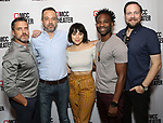 "Raúl Esparza, David Mason, Krysta Rodriguez, W. Tré Davis and Moritz von Stuelpnagel attend the photo call for the cast and creative team of MCC Theater's New York Premiere of ""Seared"" on September 11, 2019 at Artesia Wine Bar in New York City."