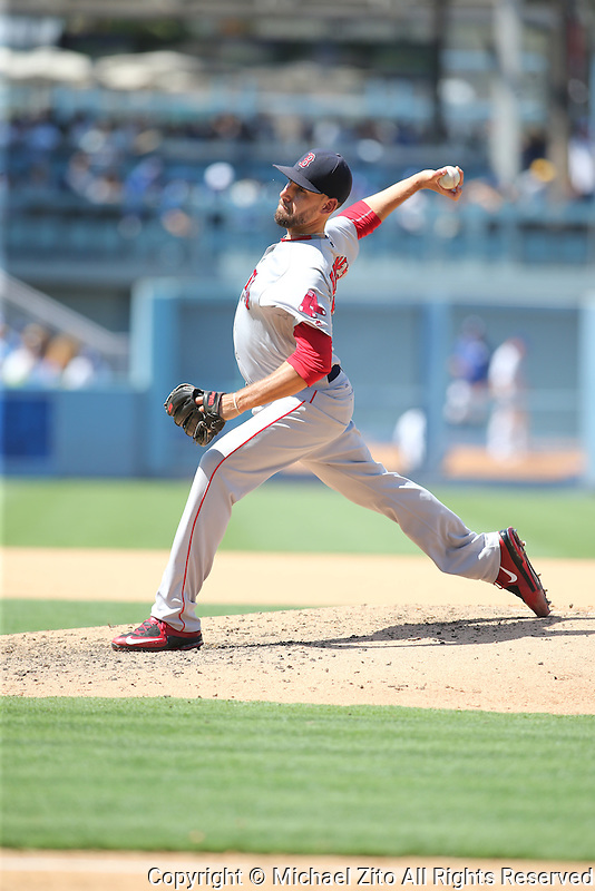August 6, 2016 Los Angeles, CA: Boston Red Sox relief pitcher Matt Barnes #68 during an MLB game played at Dodger Stadium against the Los Angeles Dodgers.