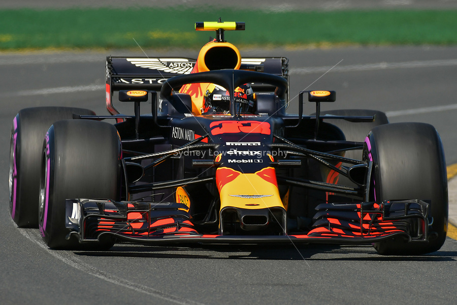 March 23, 2018: Max Verstappen (NDL) #33 from the Aston Martin Red Bull Racing team during practice session one at the 2018 Australian Formula One Grand Prix at Albert Park, Melbourne, Australia. Photo Sydney Low