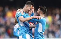 9th February 2020; Stadio San Paolo, Naples, Campania, Italy; Serie A Football, Napoli versus Lecce; Arkadiusz Milik of Napoli celebrates after scoring on 48 minutes for 1-1