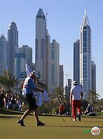 View of the 15th green where Andy Sullivan (ENG) makes birdie and moves to -17 during the Final Round of the 2016 Omega Dubai Desert Classic, played on the Emirates Golf Club, Dubai, United Arab Emirates.  07/02/2016. Picture: Golffile | David Lloyd<br /> <br /> All photos usage must carry mandatory copyright credit (&copy; Golffile | David Lloyd)