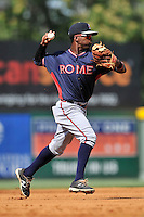 Shortstop Kevin Josephina (39) of the Rome Braves plays defense in a game against the Greenville Drive on Sunday, July 31, 2016, at Fluor Field at the West End in Greenville, South Carolina. Rome won, 6-3. (Tom Priddy/Four Seam Images)