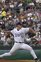 Royals pitcher Kris Wilson picks up the win against the Baltimore Orioles at Kauffman stadium in Kansas City, Missouri on August 9, 2001.  The Royals won 6-4.
