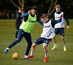 15.03.2019 Rangers training: Connor Goldson and Steven Davis