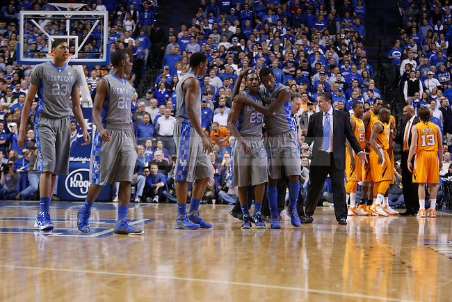 The Kentucky basketball team walks away after a scuffle in the first half of the game against Tennessee at Rupp Arena on Tuesday, Jan. 31, 2012. Photo by Scott Hannigan | Staff