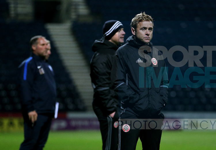 Del Geary of Sheffield United coaching staff during the FA Youth Cup 3rd Round match at Deepdale Stadium, Preston. Picture date: November 30th, 2016. Pic Matt McNulty/Sportimage