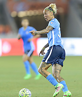 Houston, TX - Friday April 29, 2016: Tasha Kai (32) of Sky Blue FC shouts directions to her teammates as she brings the ball up the field at BBVA Compass Stadium. The Houston Dash tied Sky Blue FC 0-0.