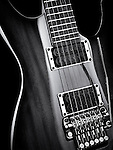 Electric guitar artistic closeup black and white photo