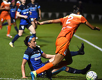 Kansas City, MO - Saturday May 07, 2016: Houston Dash defender Poliana Barbosa (2) against FC Kansas City defender Amanda Frisbie (17) during a regular season National Women's Soccer League (NWSL) match at Swope Soccer Village. Houston won 2-1.