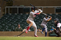 Scottsdale Scorpions first baseman Darick Hall (30), of the Philadelphia Phillies organization, at bat in front of catcher Daulton Varsho (8) during an Arizona Fall League game against the Salt River Rafters at Salt River Fields at Talking Stick on October 11, 2018 in Scottsdale, Arizona. Salt River defeated Scottsdale 7-6. (Zachary Lucy/Four Seam Images)
