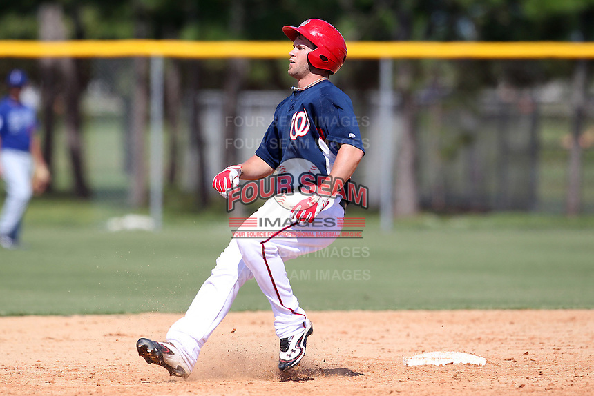 Washington Nationals outfielder Bryce Harper #34 during an Instructional League game against the national team from Italy at Carl Barger Training Complex on September 28, 2011 in Viera, Florida.  (Mike Janes/Four Seam Images)
