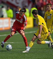 2 May 2009: Columbus Crew defender Danny O'Rourke #5 and Toronto FC forward Pablo Vitti #8 in action at BMO Field in Toronto in a  game between the Columbus Crew and Toronto FC..The game ended in a 1-1 draw.