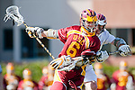 Los Angeles, CA 02/20/10 - Will Purvis (USC # 6) and Greg Sharron (LMU # 18) in action during the USC-Loyola Marymount University MCLA/SLC divisional game at Leavey Field (LMU).  LMU defeated USC 10-7.