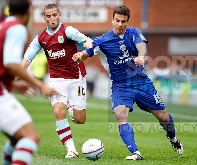 Leicester Bruno Berner with Burnleys Martin patterson