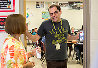 NWA Democrat-Gazette/JASON IVESTER <br /> Art teacher Steven Wise chats with superintendent Janie Darr on Thursday, Aug. 20, 2015, inside Lingle Middle School in Rogers. Rogers School Board members toured schools in the district during the day.
