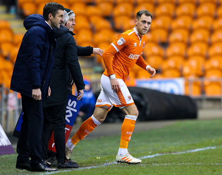 Blackpool's Harry Pritchard enters the field<br /> <br /> Photographer Alex Dodd/CameraSport<br /> <br /> The EFL Sky Bet League One - Blackpool v Shrewsbury Town - Saturday 19 January 2019 - Bloomfield Road - Blackpool<br /> <br /> World Copyright &copy; 2019 CameraSport. All rights reserved. 43 Linden Ave. Countesthorpe. Leicester. England. LE8 5PG - Tel: +44 (0) 116 277 4147 - admin@camerasport.com - www.camerasport.com