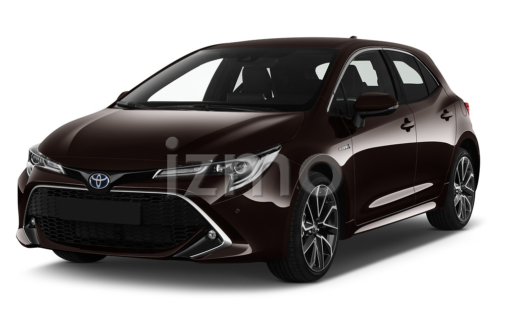 2019 Toyota Corolla-Hybrid Premium 5 Door Hatchback Angular Front stock photos of front three quarter view
