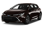 2019 Toyota Corolla-Hybrid Premium 5 Door Hatchback Angular Front stock photos of front three quarter view