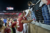 Stanford, CA - October 05, 2019: Cameron Scarlett talks to fans after the Stanford vs Washington football game Saturday night at Stanford Stadium.<br /> <br /> Stanford won 23-13.