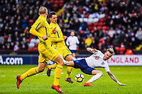 Norwich City's forward James Maddison (10) for England U21's  fould by Dynamo Kyiv's midfielder Volodymyr Shepeliev (15) for Ukraine U21's during the International Euro U21 Qualification match between England U21 and Ukraine U21 at Bramall Lane, Sheffield, England on 27 March 2018. Photo by Stephen Buckley / PRiME Media Images.