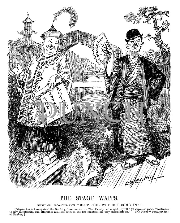 "The Stage Waits. Spirit of Reconciliation. ""Isn't this where I come in?"" [""Japan has not recognised the Nanking government...The officially encouraged boycott"" (of Japanese goods) ""continues to grow in intensity, and altogether relations between the two countries are very uncomfortable."" - ""The Times'"" Correspondent at Nanking.] (an InterWar cartoon showing a musical play with China's Nanking Government holding an Anti Japanese Boycott and Japan with a No Recognition fan)"