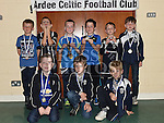 Players from The Ardee Celtic Under 8 White with their medals at the Ardee Celtic annual awards night in Ardee parish centre. Photo:Colin Bell/pressphotos.ie