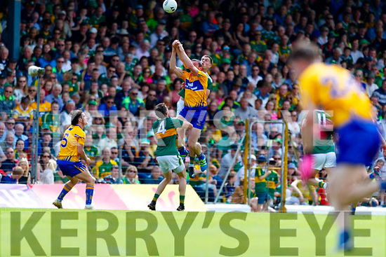 Jack Barry Kerry in action against Cathal O'Connor Clare during the Munster GAA Football Senior Championship semi-final match between Kerry and Clare at Fitzgerald Stadium in Killarney on Sunday.