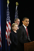 Chicago, IL - December 1, 2008 -- United States President-Elect Barack Obama gives a press conference to introduce nominees United States Senator Hillary Rodham Clinton (Democrat of New York), left, for Secretary of State, and retired Marine General James L. Jones, middle, as national security adviser Monday morning, December 1, 2008 at the Chicago Hilton & Towers in Chicago, Illinois.  Obama also introduced Washington Lawyer Eric Holder, for Attorney General, and Arizona Governor Janet Napolitano, for homeland security secretary, and Susan Rice as United Nations ambassador. Obama said he would keep defense secretary Robert Gates in his current post..Credit: Anne Ryan - Pool via CNP