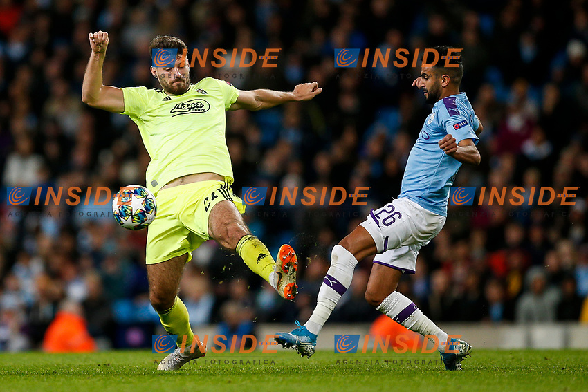 Riyad Mahrez of Manchester City and Bruno Petkovic of Dinamo Zagreb during the UEFA Champions League Group C match between Manchester City and Dinamo Zagreb at the Etihad Stadium on October 1st 2019 in Manchester, England. (Photo by Daniel Chesterton/phcimages.com)<br /> Foto PHC/Insidefoto <br /> ITALY ONLY