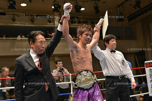 Ryoichi Taguchi, <br /> APRIL 3, 2013 - Boxing :<br /> Ryoichi Taguchi celebrates with his champion belt after winning the vacant Japanese light flyweight title bout at Korakuen Hall in Tokyo, Japan. (Photo by Hiroaki Yamaguchi/AFLO)