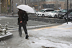 Snow falls at Hibiya area in Tokyo, Japan on January 22, 2018. Japanese media predicted that heavy snow will hit Tokyo on the afternoon and night of January 22nd and expect it to settle affecting transport as workers head home in the evening and try to get to work on the 23rd. (Photo by Naoki Nishimura/AFLO)