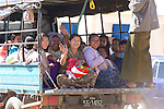 People On Transport Truck Near Shwezigon Pagoda