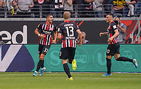 celebrate the goal, Torjubel zum 1:1 Ausgleich  Andre Silva (Eintracht Frankfurt) mit Martin Hinteregger (Eintracht Frankfurt), Filip Kostic (Eintracht Frankfurt) - 22.09.2019: Eintracht Frankfurt vs. Borussia Dortmund, Commerzbank Arena, 5. Spieltag<br /> DISCLAIMER: DFL regulations prohibit any use of photographs as image sequences and/or quasi-video.