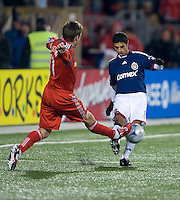 22 April 2009: Toronto FC midfielder Jim Brennan #11 and Chivas USA defender Mariano Trujillo #8 in action at BMO Field in a MLS game between Chivas USA and Toronto FC.Toronto FC won 1-0. .