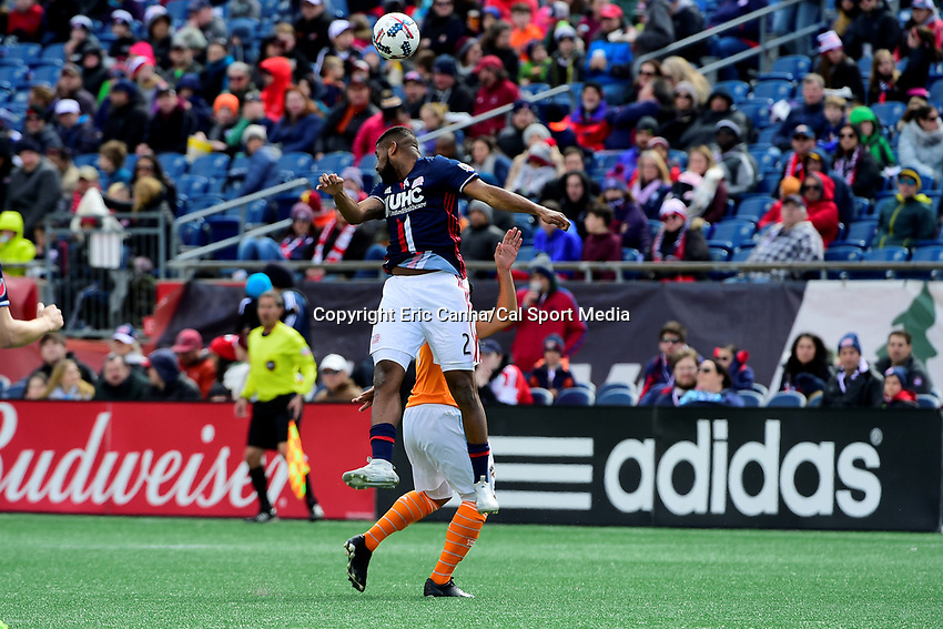 Saturday, April 8, 2017: New England Revolution defender Andrew Farrell (2) heads the ball during the MLS game between Houston Dynamo and the New England Revolution held at Gillette Stadium in Foxborough Massachusetts. New England defeats Houston 2-0. Eric Canha/CSM