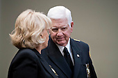 Harold Eavenson, sheriff from Rockwall County, Texas, right, talks to Carolyn Welsh, sheriff from Chester County, Pennsylvania, before the start of a listening session with U.S. President Donald Trump, not pictured, in the Roosevelt Room of the White House in Washington, D.C., U.S., on Tuesday, Feb. 7, 2017. The Trump administration will return to court Tuesday to argue it has broad authority over national security and to demand reinstatement of a travel ban on seven Muslim-majority countries that stranded refugees, triggered protests and handed the young government its first crucial test. <br /> Credit: Andrew Harrer / Pool via CNP
