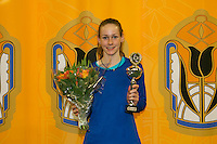 Rotterdam, The Netherlands, 15.03.2014. NOJK 14 and 18 years ,National Indoor Juniors Championships of 2014, Runner up girls 14 years: Stephanie Visscher Photo:Tennisimages/Henk Koster