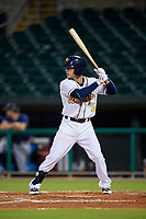 Montgomery Biscuits shortstop Andrew Velazquez (5) at bat during a game against the Mississippi Braves on April 24, 2017 at Montgomery Riverwalk Stadium in Montgomery, Alabama.  Montgomery defeated Mississippi 3-2.  (Mike Janes/Four Seam Images)