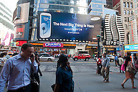 Advertising for the Samsung Galaxy S III mobile phone is seen in Times Square in New York on Friday, October 5, 2012. Samsung announced that its July through September operating profit will hit $6.8 billion but their record of four quarter increases will come to an end analysts predict because the company intends to spend more money marketing it's smartphone competitor to the iPhone 5. (© Richard B. Levine)