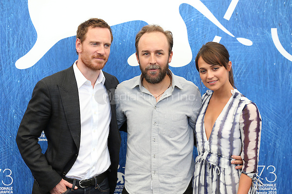 Michael Fassbender, Derek Cianfrance, Alicia Vikander attends 'The Light Between Oceans' photocall during the 73rd Venice Film Festival on September 01, 2016 in Venice, Italy. <br /> CAP/GOL<br /> &copy;GOL/Capital Pictures /MediaPunch ***NORTH AND SOUTH AMERICAS ONLY***