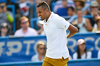Washington, DC - August 4, 2019: Nick Kyrgios (AUS) stretches out his back which bothered him early in the match against Daniil Medvedev (RUS) during the Men's finals of the Citi Open at the Rock Creek Tennis Center, in Washington D.C. (Photo by Philip Peters/Media Images International)