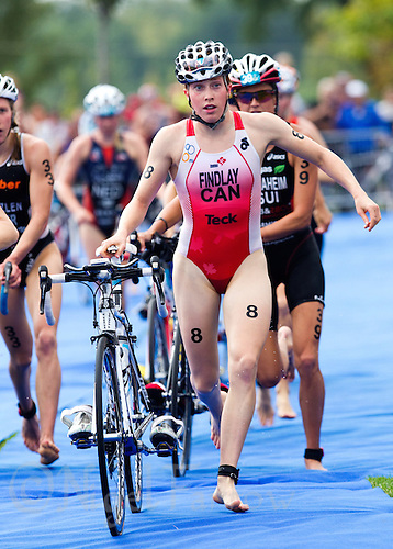 12 SEP 2010 - BUDAPEST, HUN - Paula Findlay exits transition for the bike at the 2010 Elite Womens ITU World Championship Series Triathlon final (PHOTO (C) NIGEL FARROW)