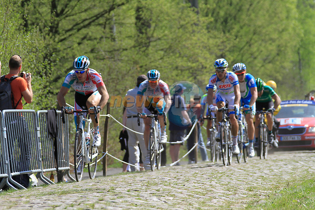 David Boucher (FRA) and Andre Greipel (GER) Omega Pharma-Lotto in the lead group of riders through the Forest of Arenberg on Pave Section 16 during the 109th edition of the Paris-Roubaix cycle race, 10th April 2011 (Photo by Eoin Clarke/NEWSFILE)